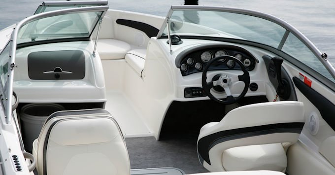 interior of a runabout speedboat