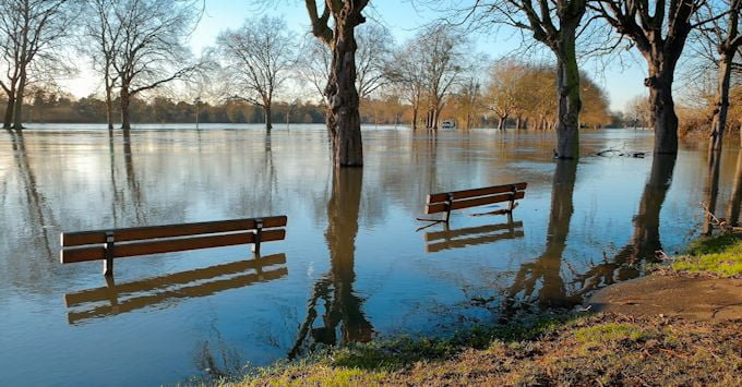 River flooding over its banks